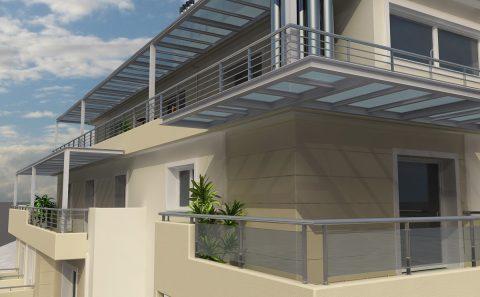 Άποψη μπαλκόνιων και στεγαστρων πολυκατοικίας