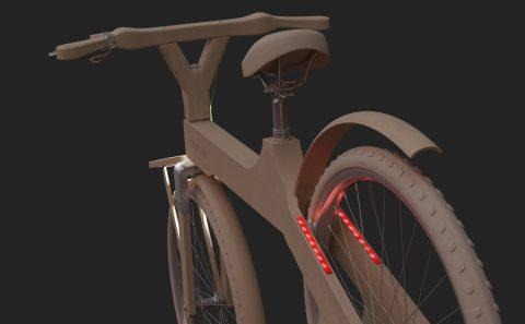 Εικονική προσομοίωση του ποδήλατου της Coco-mat με τα φώτα αναμμένα