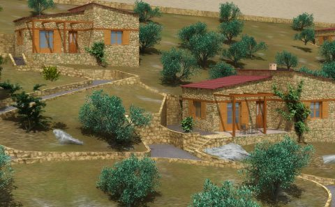 Πέτρινες μονοκατοικίας σε πλαγιά