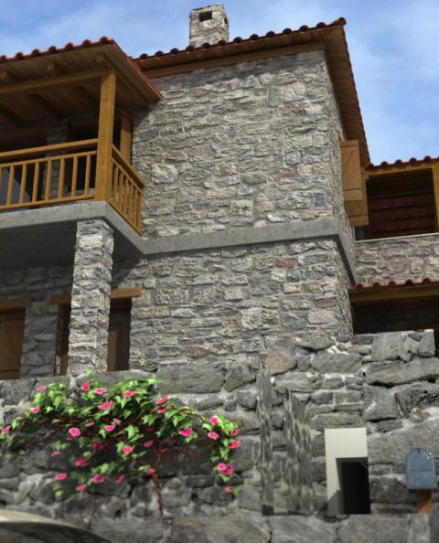Παραδοσιακή πέτρινη κατοικία φωτορεαλιστικο