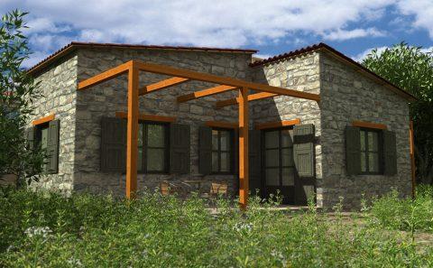 Παραδοσιακή πέτρινη κατασκευή εξοχικού σπιτιού