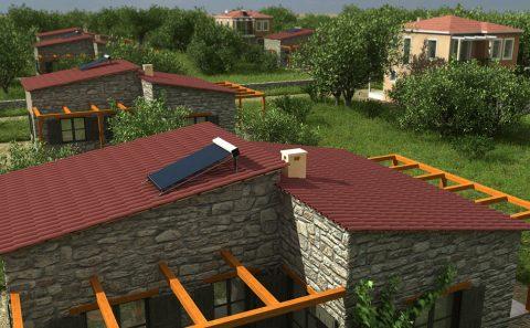 Καραμυδοσκεπη πέτρινης μονοκατοικίας εικονική αναπαράσταση
