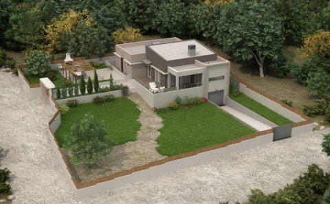 Προοπτικο οικοπέδου με την κατοικία