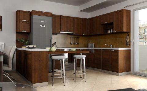 Κουζίνα σκούρο καφέ καπλαμά εικονική 3d προσομοίωση