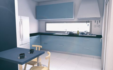 3d εικόνα κουζίνας με οριζόντιο παράθυρο