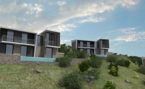 Μοντέρνα αρχιτεκτονικη σε μεζονέτες στη Θάσο 3d εικόνες