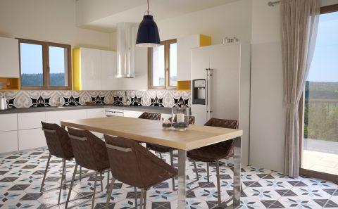Κουζίνα πέτρινης κατοικίας φωτορεαλιστικό