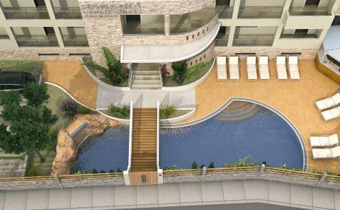 Πολυτελής πισίνα ξενοδοχείου σχεδιαστική αποτύπωση ιδέας κατασκευαστή