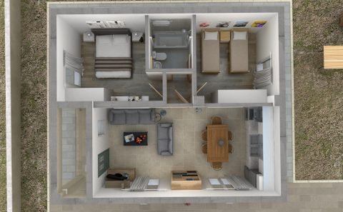 Ισόγειο κατοικίας τρισδιάστατα σχεδιασμένος