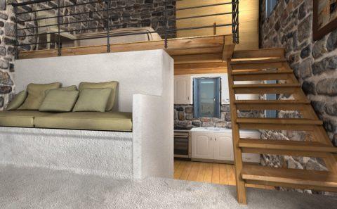Ξύλινη σκάλα προς πατάρι σχέδιο 3d
