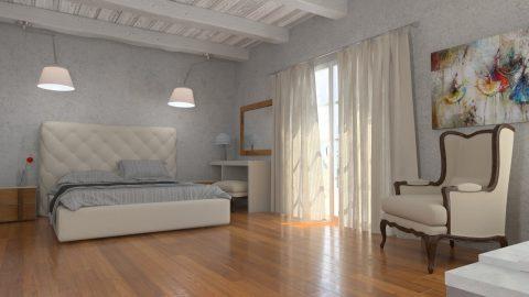 Μεγάλο πολυτελές δωμάτιο παραδοσιακού νησιώτικου ξενοδοχείου εικονική διακόσμηση