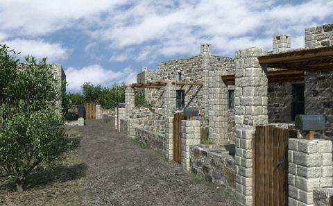 Ξύλινη είσοδος πέτρινης κατοικίας τρισδιάστατο σχέδιο