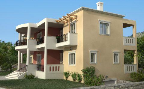 Πλάγια όψη μεγάλης ελληνικής κατοικίας