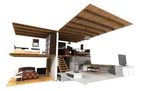 Εσωτερικό κατοικίας χωρίς τους τοίχους τρισδιάστατο σχέδιο