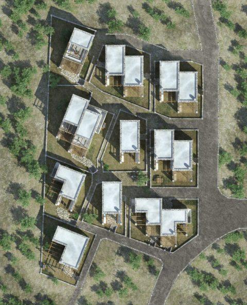Τρισδιάστατη φωτορεαλιστική κάτοψη πέτρινου συγκροτήματος κατοικιών