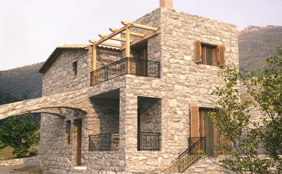 Φωτορεαλισμός πέτρινων σπιτιών στη Καλαμάτα