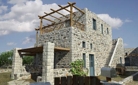 Φωτορεαλισμος πέτρινης νησιωτικής κατοικίας