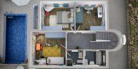 Τρισδιάστατη κάτοψη όλου του ορόφου με εικονική αφαίρεση σκεπής