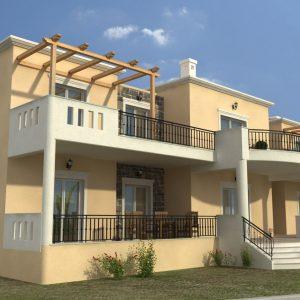 3d εικόνα σπιτιού με ξύλινες πέργολες